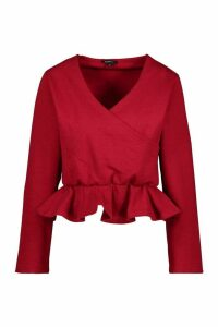 Womens Wrap Peplum Sweatshirt - red - 14, Red