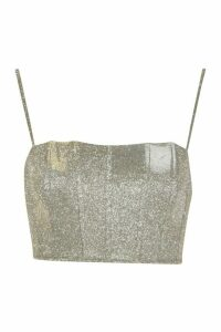 Womens Glitter Bonded Metallic Crop Top - Beige - 14, Beige