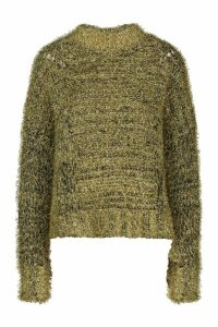 Womens Oversized Tinsel Jumper - metallics - M/L, Metallics