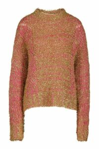Womens Oversized Tinsel Jumper - Pink - S/M, Pink
