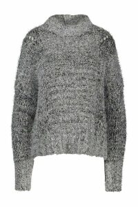 Womens Oversized Tinsel Jumper - grey - M/L, Grey