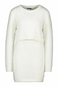 Womens Fluffy Knit Skirt Set - white - L, White