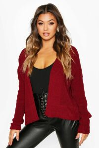 Womens Oversized Rib Cropped Cardigan - Red - M/L, Red