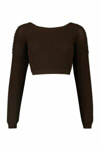Womens V-Back Crop Jumper - brown - M, Brown