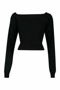 Womens Slash Neck Crop Fisherman Jumper - black - XL, Black