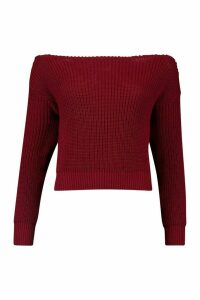 Womens Slash Neck Crop Fisherman Jumper - red - M, Red