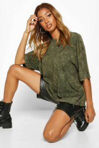 Womens Oversized Acid Wash T-Shirt - green - 12, Green