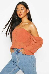Womens Dobby Spot Off Shoulder Long Sleeve Crop Top - Orange - 12, Orange