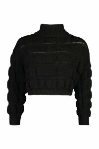Womens Petite Bubble Knit Roll Neck Jumper - black - 6, Black