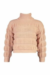 Womens Petite Bubble Knit Roll Neck Jumper - Pink - 8, Pink