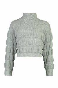 Womens Petite Bubble Knit Roll Neck Jumper - grey - 12, Grey