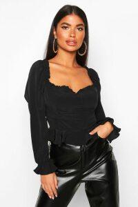 Womens Petite Frill Peplum Blouse - black - 4, Black