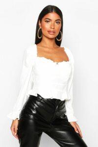 Womens Petite Frill Peplum Blouse - white - 14, White