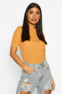 Womens Petite Ribbed Basic T Shirt - yellow - 14, Yellow