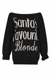 Womens Santa's Favourite Blonde Christmas Jumper - black - S/M, Black