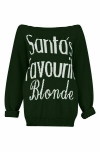 Womens Santa's Favourite Blonde Christmas Jumper - red - M/L, Red
