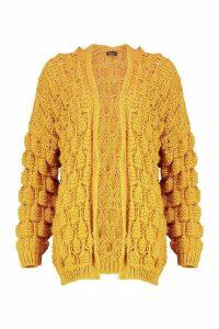 Womens Bobble Knit Cardigan - yellow - M, Yellow