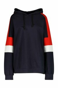 Womens Colour Block Oversized Hoody - navy - 14, Navy