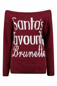 Womens Santa's Favourite Brunette Slash Neck Christmas Jumper - red - S/M, Red