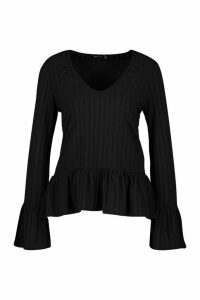 Womens Recycled Rib Smock Top - black - 24, Black
