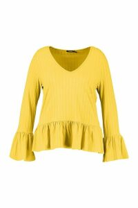 Womens Recycled Rib Smock Top - Yellow - 10, Yellow
