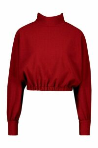 Womens Recycled Roll Neck Rib Batwing Crop Top - red - 12, Red