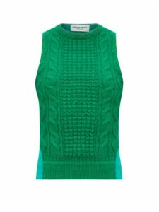 Marine Serre - Cable-knit Wool-panelled Top - Womens - Green