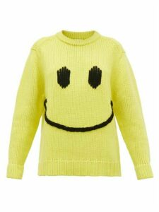 Joostricot - Smiley Embroidered Wool Blend Sweater - Womens - Yellow