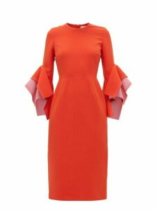 Roksanda - Ronda Contrast-panel Fluted-cuff Cady Dress - Womens - Red