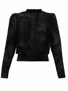 Frame - Puffed-sleeve Devoré Velvet Top - Womens - Black