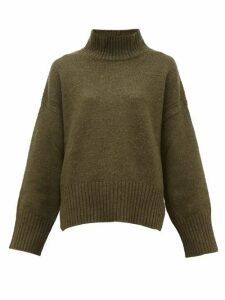 Frame - Roll Neck Wool Blend Sweater - Womens - Khaki
