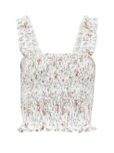 Sir - Haisley Floral-print Smocked Cropped Linen Top - Womens - Ivory Multi