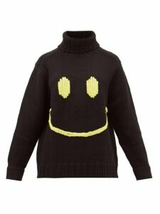 Joostricot - Smiley-embroidered Wool-blend Sweater - Womens - Black Yellow