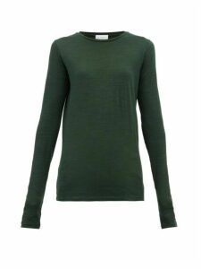 Raey - Long Sleeved Slubby Cotton Jersey T Shirt - Womens - Dark Green