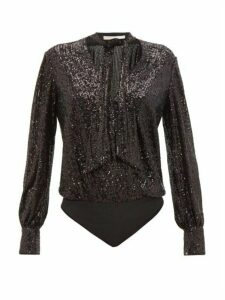 Jonathan Simkhai - Sequinned Tie-neck Wrap Bodysuit - Womens - Black