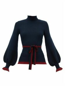 Roksanda - Auric Belted Bell-sleeve Rib-knitted Wool Sweater - Womens - Navy Multi