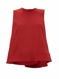 Roksanda - Leya Quilted-hem Silk-georgette Trapeze Blouse - Womens - Red