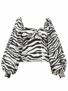 The Attico - Balloon-sleeve Zebra-print Crepe De Chine Top - Womens - Black White