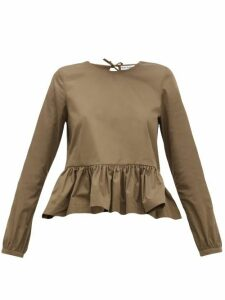 Molly Goddard - Wilfred Peplum-hem Cotton Top - Womens - Khaki
