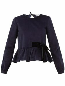 Molly Goddard - Willow Stretch-cotton Corduroy Peplum Top - Womens - Navy