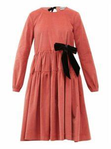Molly Goddard - Deliah Velvet-bow Cotton-blend Corduroy Dress - Womens - Pink