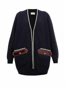 Christopher Kane - Pvc Pocket Crystal Embellished Wool Cardigan - Womens - Navy