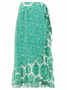Beulah - Elena Tree Of Life-print Silk Midi Wrap Skirt - Womens - Green White