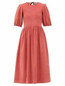 Molly Goddard - Priscilla Shirred Cotton-blend Corduroy Dress - Womens - Pink