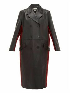 Alexander Mcqueen - Double-breasted Checked Wool And Leather Coat - Womens - Black Red