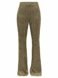 Peter Pilotto - Plissé Metallic-jersey Trousers - Womens - Gold