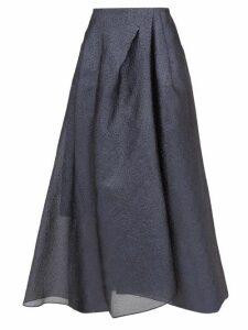 Roland Mouret - Mulligan Lamé-cloqué Midi Skirt - Womens - Blue Multi