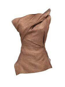 Roland Mouret - Braxton Hammered-metallic One-shoulder Top - Womens - Copper
