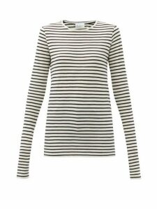 Raey - Long-sleeved Striped Slubby Cotton-jersey T-shirt - Womens - Navy Stripe