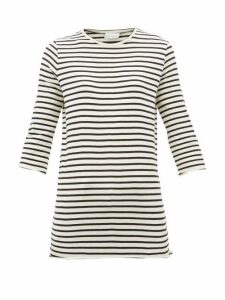 Raey - Half-sleeve Striped Cotton-jersey T-shirt - Womens - Navy Stripe